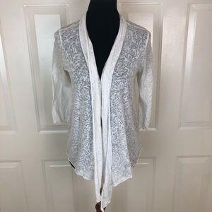 Hard Tail White 3/4 Sleeve Open Cardigan